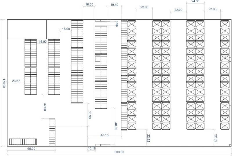 Расстановка стеллажей на складе: схемы, планировка, как расставить по нормам